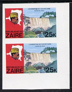 Zaire 1979 River Expedition 25k Inzia Falls imperf pair unmounted mint (as SG 958)