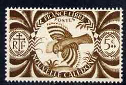 New Caledonia 1942 Kagu Bird 5c brown unmounted mint, SG 267*