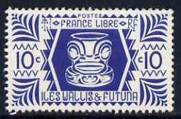 Wallis & Futuna 1944 Ivory Head 10c blue unmounted mint, SG 127