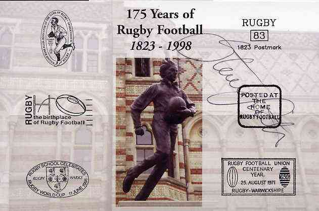 Postcard privately produced in 1998 (coloured) for the 175th Anniversary of Rugby, signed by Steve Smith (Manu Samoa & Rugby Lions) unused and pristine
