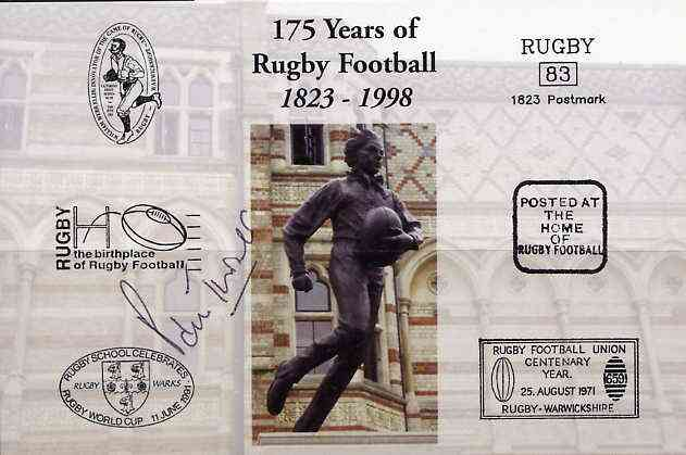 Postcard privately produced in 1998 (coloured) for the 175th Anniversary of Rugby, signed by Paul Turner (Wales - 3 caps) unused and pristine