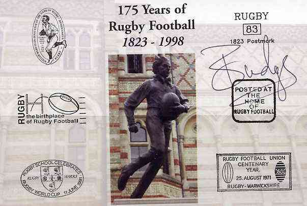Postcard privately produced in 1998 (coloured) for the 175th Anniversary of Rugby, signed by Budge Poutney (Scotland - 24 caps & Captain, Northampton) unused and pristine