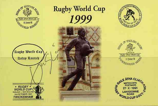 Postcard privately produced in 1999 (coloured) for the Rugby World Cup, signed by John Sleightholme (England - 12 caps, Bath, Northampton) unused and pristine