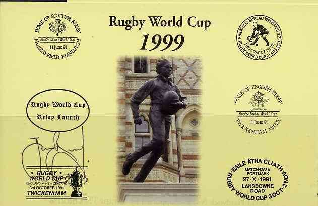 Postcard privately produced in 1999 (coloured) for the Rugby World Cup, signed by James Brooks (England 7's, London Broncos, Northampton) unused and pristine