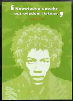 Postcard produced by the BBC for their 'AS Guru' programme showing Jimi Hendrix with quotation, unused