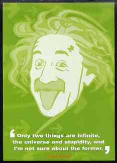 Postcard produced by the BBC for their 'AS Guru' programme showing Albert Einstein with quotation, unused