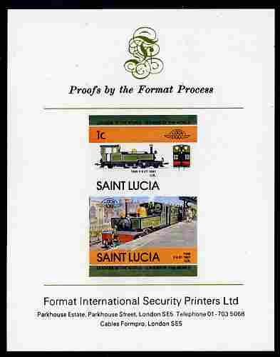 St Lucia 1984 Locomotives #2 (Leaders of the World) 1c 'Taw 2-6-2 UK' se-tenant pair imperf mounted on Format International proof card