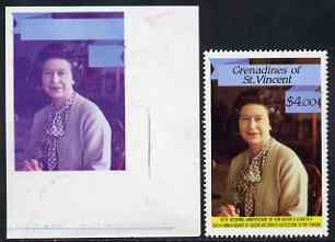 St Vincent - Grenadines 1987 Ruby Wedding $4 (Queen) imperf proof in magenta & blue only, plus issued stamp SG 540 unmounted mint