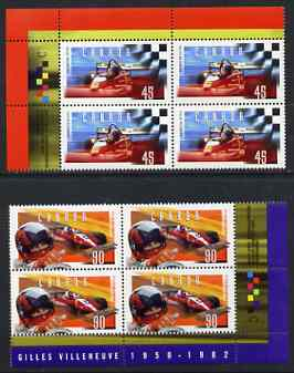 Canada 1997 Gilles Villeneuve (racing car driver) set of 2 each in imprint blocks of 4 unmounted mint, SG 1733-34