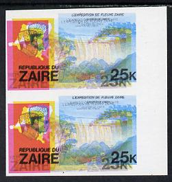 Zaire 1979 River Expedition 25k Inzia Falls imperf proof pair with superb misplaced colours - yellow by 2mm and red by 3mm unmounted mint (as SG 958)*