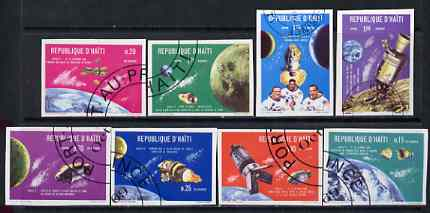 Haiti 1969 Apollo 7 & 8 Space Flights imperf set of 8 fine cto used from limited printing