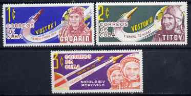 Cuba 1963 Cosmic Flights (1st series) set of 3 unmounted mint, SG 1058-60*