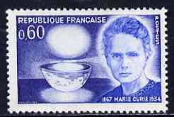 France 1967 Birth Centenary of Marie Curie unmounted mint, SG 1765