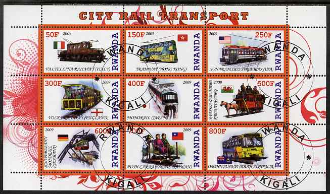 Rwanda 2009 City Transport perf sheetlet containing 9 values fine cto used