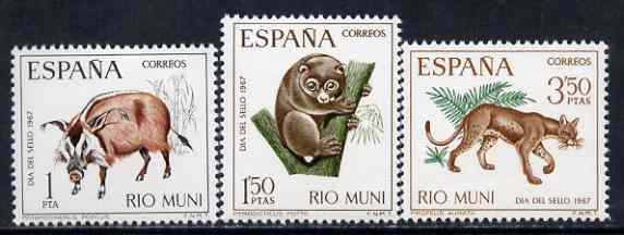 Rio Muni 1967 Stamp Day (Pig, Potto & Golden Cat) set of 3 unmounted mint, SG 80-82