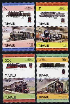 Tuvalu 1984 Locomotives #3 (Leaders of the World) set of 8 opt'd SPECIMEN (as SG 273-80) unmounted mint
