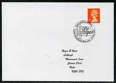 Postmark - Great Britain 2001 cover with 'Land of Hope & Glory' cancel illustrated with Clef & Elgar, stamps on music, stamps on elgar, stamps on composers