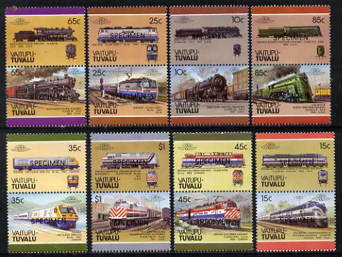 Tuvalu - Vaitupu 1987 Locomotives #3 (Leaders of the World) set of 16 opt'd SPECIMEN unmounted mint