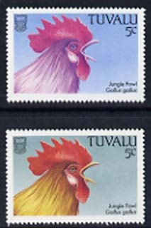 Tuvalu 1988 Red Junglefowl 5c with yellow omitted plus normal, both unmounted mint, SG 502var