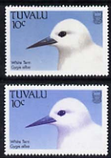 Tuvalu 1988 White Tern 10c with red omitted plus normal, both unmounted mint, SG 503var