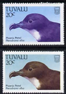 Tuvalu 1988 Phoenix Petrel 20c with yellow omitted plus normal, both unmounted mint, SG 505var