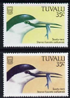 Tuvalu 1988 Sooty Tern 35c with red omitted plus normal, both unmounted mint, SG 508var