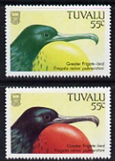 Tuvalu 1988 Great Frigate Bird 55c with red omitted plus normal, both unmounted mint, SG 512var
