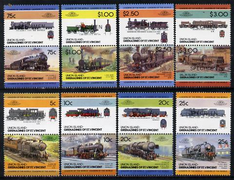 St Vincent - Union Island 1984 Locomotives #2 (Leaders of the World) set of 16 opt'd SPECIMEN unmounted mint