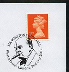 Postmark - Great Britain 2001 cover with 'Sir Winston Churchill' London cancel illustrated with Portrait of Churchill
