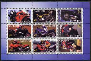 Karjala Republic 1998 Racing Motorcycles perf sheetlet containing set of 9 values complete unmounted mint