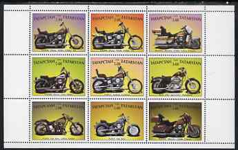 Tatarstan Republic 1999 Harley Davidson Motorcycles perf sheetlet containing set of 9 values complete unmounted mint