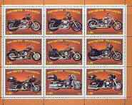 Ingushetia Republic 1999 Harley Davidson Motorcycles perf sheetlet containing set of 9 values complete unmounted mint
