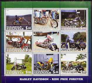 Tatarstan Republic 2001 Harley Davidson Motorcycles perf sheetlet containing set of 9 values complete unmounted mint