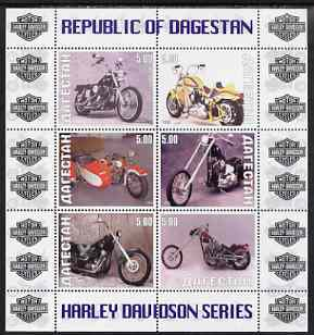 Dagestan Republic 1999 Harley Davidson Motorcycles perf sheetlet containing set of 6 values complete unmounted mint