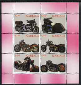 Karjala Republic 1999 Harley Davidson Motorcycles perf sheetlet containing set of 6 values complete unmounted mint