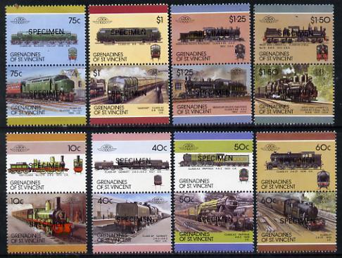 St Vincent - Grenadines 1987 Locomotives #7 (Leaders of the World) set of 16 opt'd SPECIMEN (as SG 504-19) unmounted mint