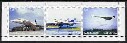 Kalmikia Republic 2000 Concorde perf sheetlet containing set of 3 values complete unmounted mint