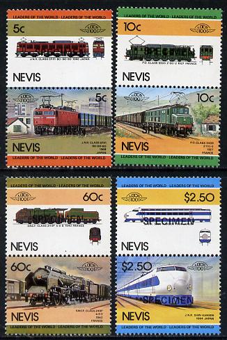 Nevis 1984 Locomotives #2 (Leaders of the World) set of 8 opt'd SPECIMEN (as SG 219-26) unmounted mint