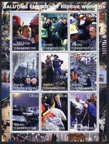 Turkmenistan 2001 Saluting Emergency Rescue Workers perf sheetlet containing set of 9 values complete unmounted mint