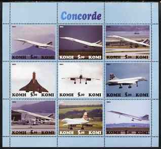 Komi Republic 2001 Concorde perf sheetlet containing set of 9 values complete unmounted mint
