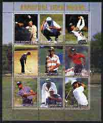 Bashkortostan 2001 Tiger Woods perf sheetlet containing set of 9 values complete unmounted mint