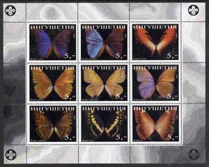 Ingushetia Republic 1998 Butterflies perf sheetlet (with Scout Logo) containing set of 9 values complete unmounted mint