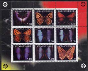 Karakalpakia Republic 1998 #3 Butterflies perf sheetlet (with Scout Logo) containing set of 9 values complete unmounted mint