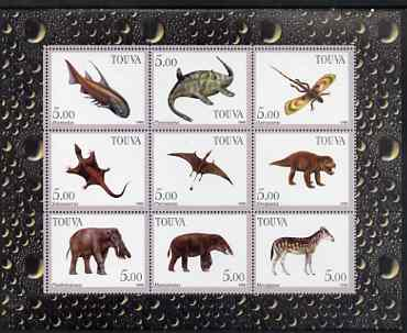 Touva 1998 Prehistoric Life perf sheetlet containing set of 9 values complete unmounted mint
