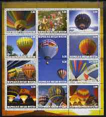 South Ossetia Republic (Kussar Iryston) 2000 Hot Air Balloons perf sheetlet containing set of 12 values complete unmounted mint