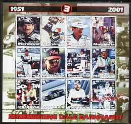 Mordovia Republic 2001 Remembering Dale Earnhardt perf sheetlet containing set of 12 values complete unmounted mint