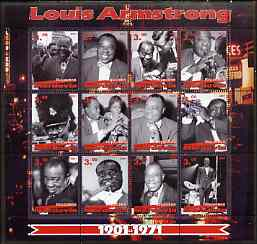 Mordovia Republic 2001 Louis Armstrong perf sheetlet #1 (red text) containing set of 12 values complete unmounted mint