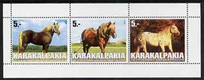 Karakalpakia Republic 1999 Horses #2 perf sheetlet containing set of 3 values complete unmounted mint