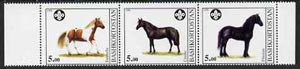 Bashkortostan 1998 Horses (with Scout Logo) perf sheetlet containing set of 3 values complete unmounted mint