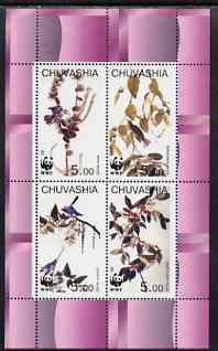 Chuvashia Republic 1998 WWF - John Audubon Birds perf sheetlet containing set of 4 values complete unmounted mint, stamps on wwf, stamps on birds, stamps on audubon, stamps on  wwf , stamps on
